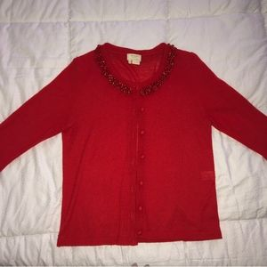 Kate Spade Red Cardigan with Beaded Neckline